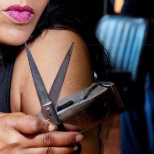 woman with scissor and razor